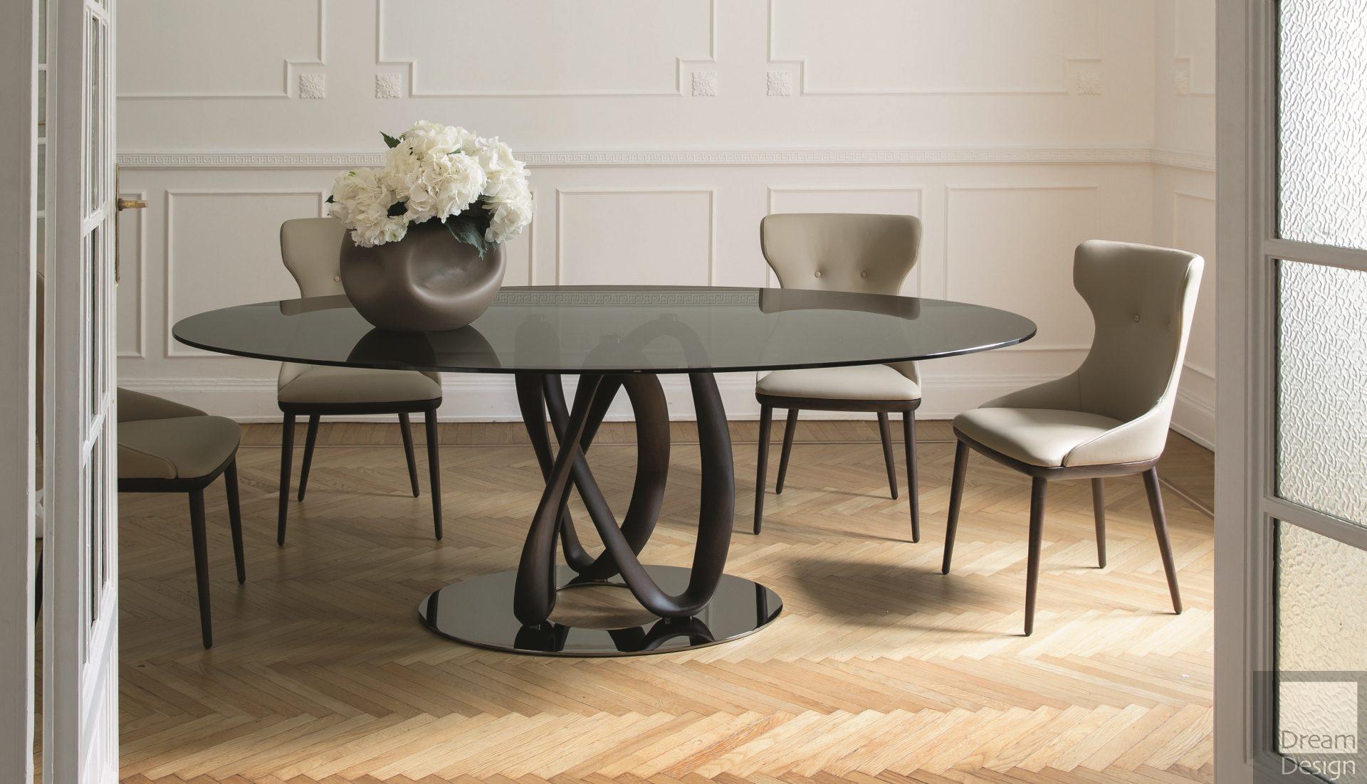 Porada Infinity Elliptic Glass Table