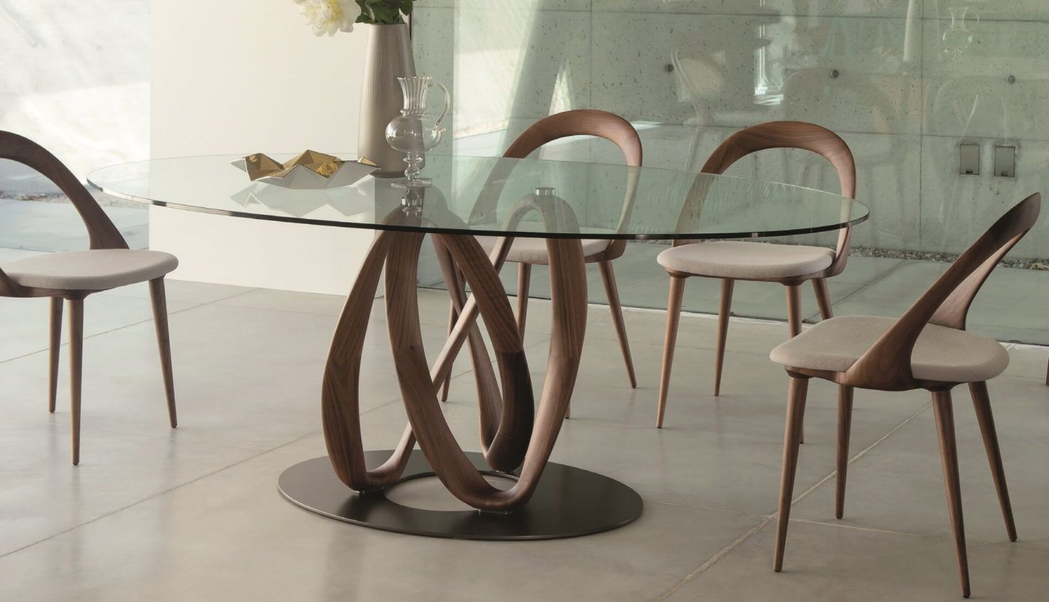 Infinity Oval Glass Table