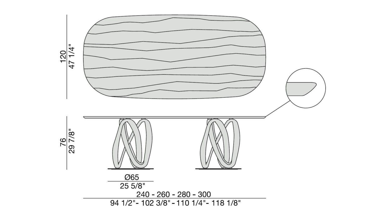 Porada Infinity Oval 2 Base Wood Table