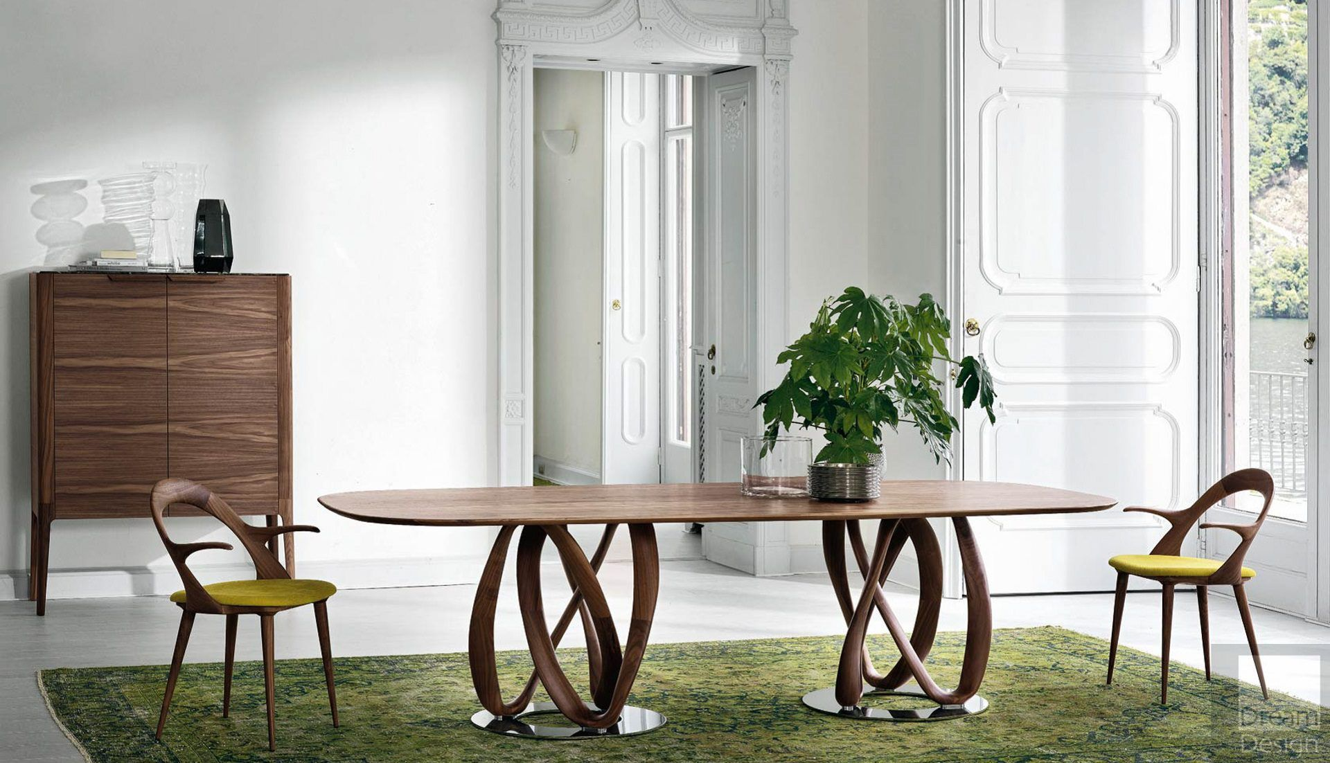 Porada Infinity Oval 2 Base Wood Table