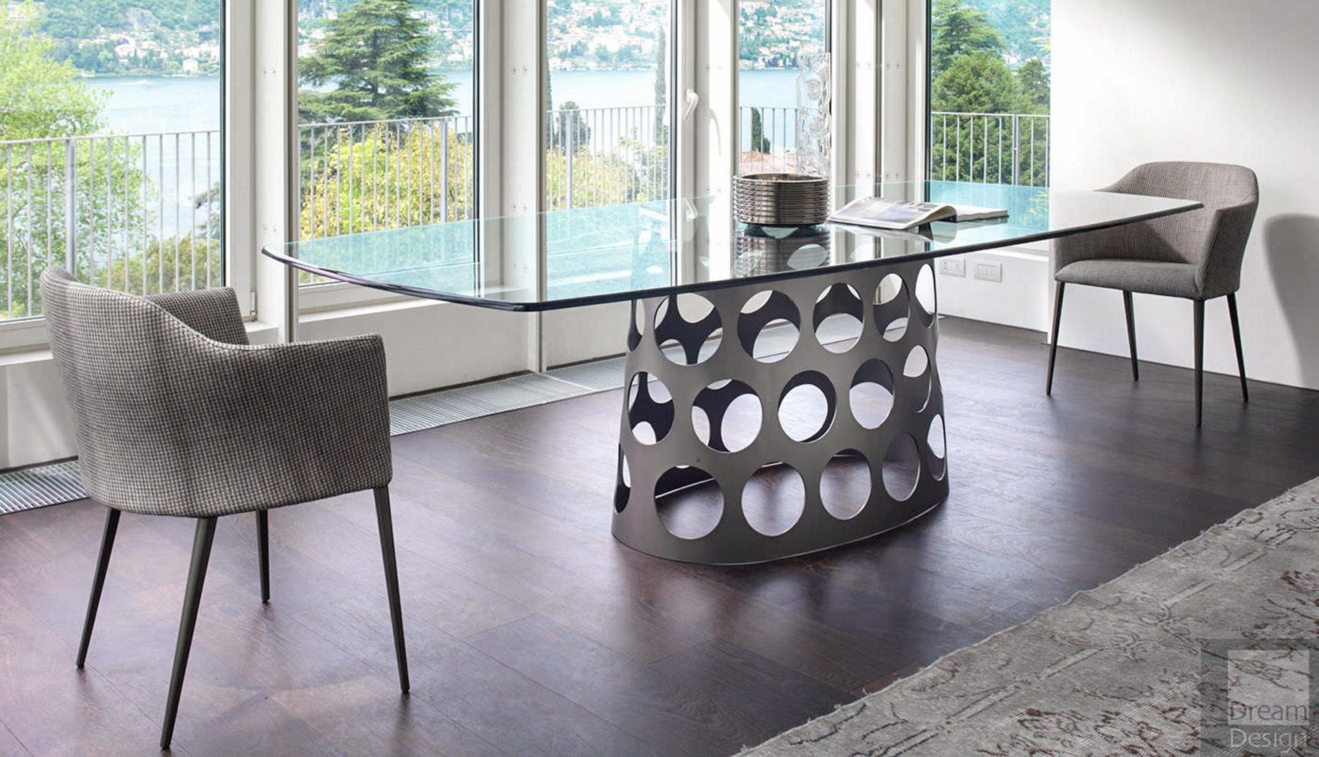 Porada Jean Barrel Glass Table
